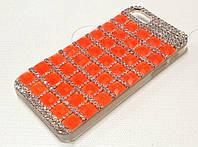 Чехол пластиковый с камнями оранжевый для iPhone 5/5s/5se