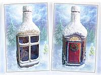 Подарочное оформление бутылки для сервировки новогоднего стола