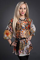 Очень красивая яркая модная блуза Тигровый-цветы, 44-46