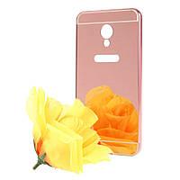 Чехол бампер для Meizu M3S / M3 / M3 mini металлический со съемной зеркальной крышкой, Розовый