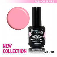 Гель лак Яркий Розовый для французского маникюра,  Lady Victory