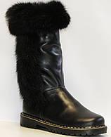 Сапоги зимние чёрные кожаные для девочки на термополиэстеровой подошве с молнией с подкладкой из шерсти
