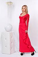 Женское вечернее платье-макси кораллового цвета с длинным рукавом. Модель 829 SL.