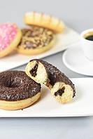 Донат Тройной, с начинкой с шоколадом, какао глазурью и посыпкой