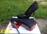 Туфли женские с шипами черные с голографическими блестками