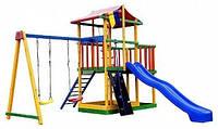 Детский игровой комплекс цветной для улицы с горкой, качелями и приспособлениями для лазания ТМ SportBaby Babyland-11