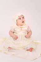 Крестильный комплект с гипюром для девочки 3-9 мес. раз. 62-74 (4 предмета) ТМ Модный карапуз Молочный