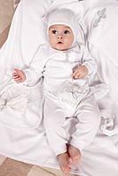 Крестильный набор для новорожденного из хлопка 3-9 мес. раз. 62-74 (5 предметов) ТМ Модный карапуз Белый 03-00575-0