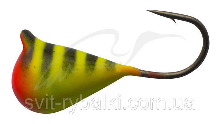 Мормышка вольфрамовая Shark Капля с ушком 0,267г диам. 2,5 мм крючок D18 ц: жёлто-черный #29 ц:желтый/черный