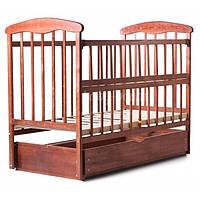 Наталка дитяче ліжечко з маятником, шухлядою, відкидною боковиною (темний ясен)