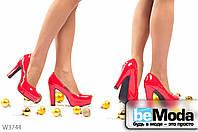 Модные женские лакированные туфли Red с круглым носком на платформе и широком каблуке красные