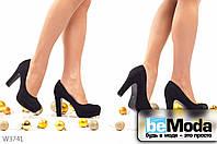 Привлекательные женские туфли Black из искусственной замши с круглым носком на платформе и широком каблуке черные