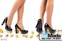 Модные женские лакированные туфли Black с круглым носком на платформе и широком каблуке черные