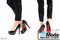 Эффектные женские лакированные туфли L&M Black со скрытой удобной платформой, красной подошвой и на высоком каблуке черные