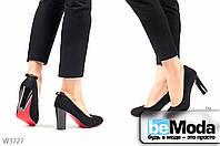 Стильные женские замшевые туфли ZDW Black на удобном широком каблуке с красной подошвой  и декоративным бантиком на пятке черные