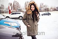 Зимняя парочка в наличии 42 (хс) размер в наличии с мехом канадского енота цвет хаки плащ-коттон 2в1