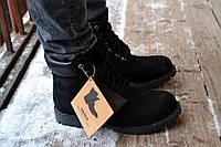 Ботинки мужские осенние высокие Timberland full black (тимберленд, реплика)