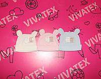 Шапочка для новорожденных с ушками Глазки 962 интерлок