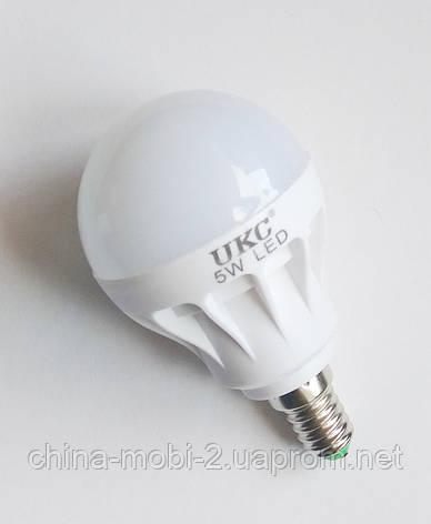 Светодиодная лампа LED UKC 220V 5W E14 круглая, фото 2