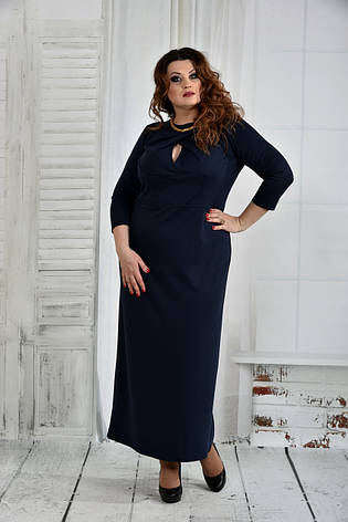 Длинное платье больших размеров 0398 синее, фото 2