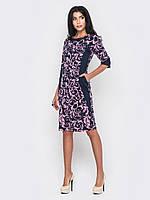 Красивое стильное женское платье миди из французского трикотажа рукава 3/4, большие размеры 90200