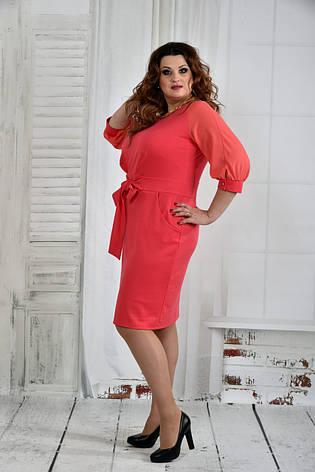 Платье больших размеров с карманами 0403 коралл, фото 2