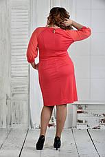 Платье больших размеров с карманами 0403 коралл, фото 3