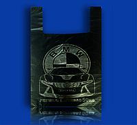 """Пакет полиэтиленовый Майка с рисунком 38х58 """"BMW"""" Super Bag черный 100шт"""