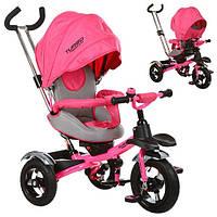 Детский трехколесный велосипед с ручкой Turbo Trike M 3193-3А (Розовый)