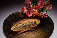 Свеча диск Love 185х12х90мм. 1шт. Цвет золотой.