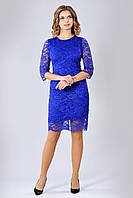 Нарядное кружевное женское платье цвета электрик
