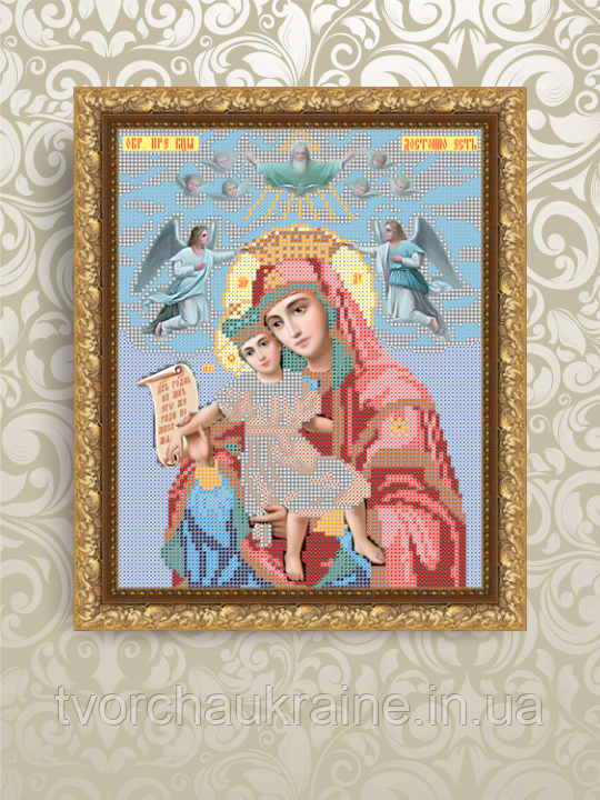 Авторская канва для вышивки бисером «Богородица Достойно есть (Милующая)»
