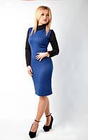 Сине-черное приталенное платье