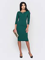 Элегантное стильное вечернее женское платье миди из трикотажа «Жаккард» рукава 3/4 90206, фото 1
