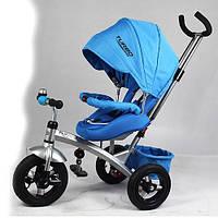 Детский трехколесный велосипед с ручкой Turbo Trike M 3194-2А (Синий)