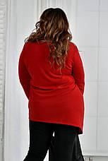 Теплый джемпер больших размеров 0407 красный, фото 2