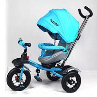 Детский трехколесный велосипед с ручкой Turbo Trike M 3193-5А (Бирюзовый)