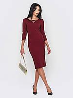 Элегантное стильное вечернее платье миди из из трикотажа «Жаккард» рукава 3/4 90206