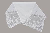 Скатерть-наперон с кружевами, белая\кремовая, 50х150