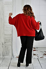 Теплая туника больших размеров 0412 красная, фото 3