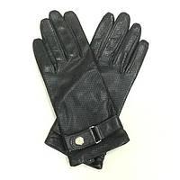 Женские кожаные перчатки в стиле Versace черные