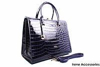 Элегантная женская сумка FURLA цвет синий, натуральная лакированная кожа