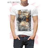 Футболка трикотажна чоловіча біла з малюнком арт-колаж, фото 1
