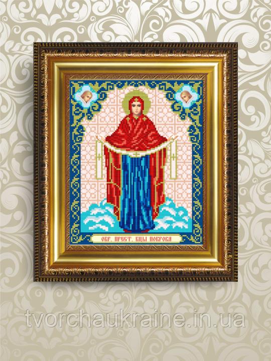 Авторская канва для вышивки бисером «Образ Богородицы Покрова»