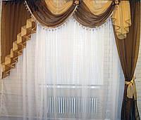 Ламбрекен с шторой 2.5м. №27а Коричневый