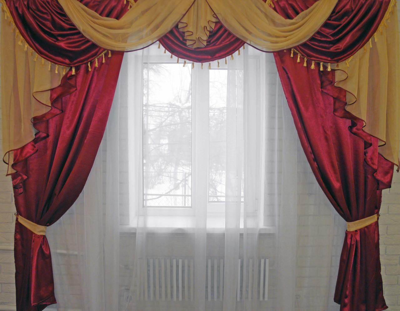 Ламбрекен №35+  шторы, комплект Бордовый с золотистым