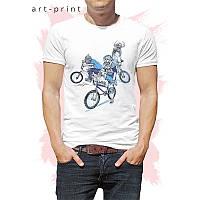 Футболка трикотажна чоловіча біла з малюнком Monster Bike, фото 1