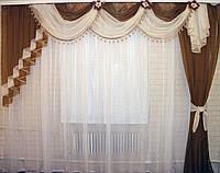 Ламбрекен №27а на карниз 3м, со шторкой. Цвет коричневый