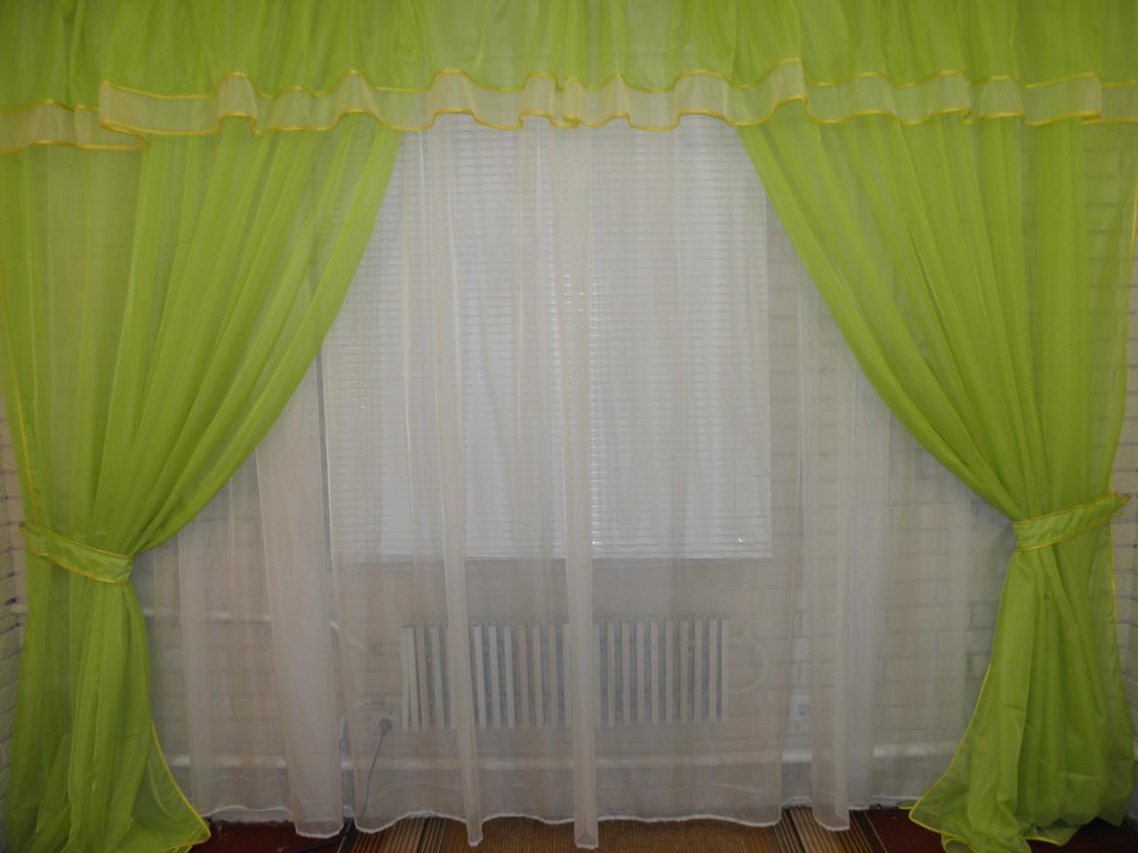 Ламбрекен №6 + шторы. На карниз 3м. цвет салатовый