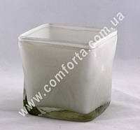 115 Ваза в стиле Murano (13,5*12,5*13,5см) белая, толстое стекло